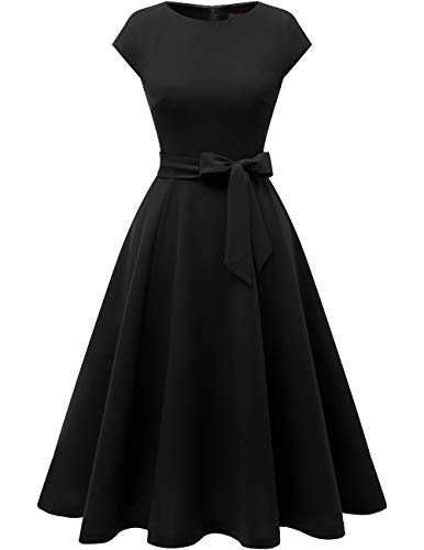 DRESSTELLS schwarzes Kleid Damen 1950er Vintage Retro Rockabilly Kleid Hochzeit Cocktailkleid Black S