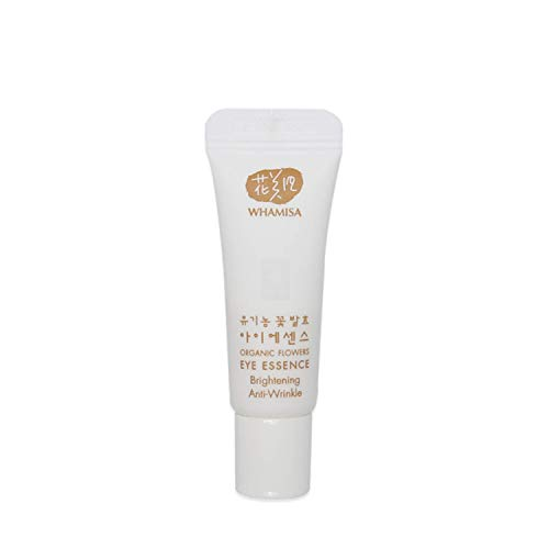 WHAMISA Organic Flowers Eye Essence - Korean Skin Care Augencreme gegen Falten und Augenringe Serum mit Adenosin - Koreanische Kosmetik Cream Sanft Fermentiert - Reisegröße 3ml