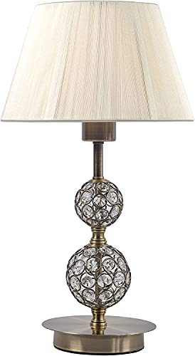 DIRECTLIGHTING Lámpara de Mesita de Noche. Ideal para Dar Luz Ambiente a tu Dormitorio o como Lámpara de Mesa. Estilo Vintage con Pantalla de Hilo y Cristal en el Pie. Admite Led. [Dorado / Plateado]