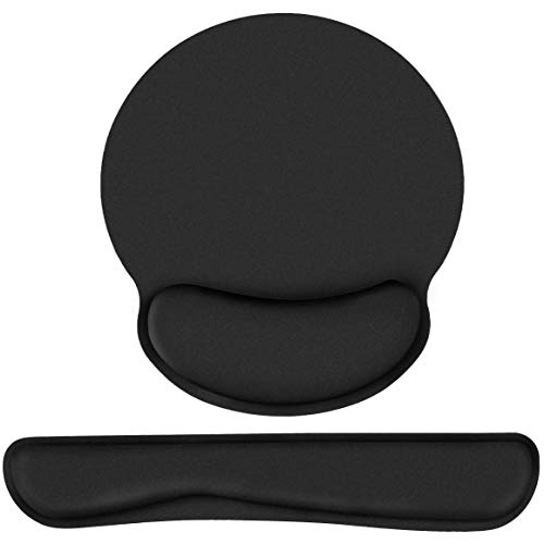 Sunamy Keyboard Wrist Rest and Mouse Pad with Wrist Support, Ergonomic Mouse Pad,Anti-Skid Ergonomic Gel Wrist Cushion Support with Memory Foam for Mac Computer Laptop Working Gaming Home -Black
