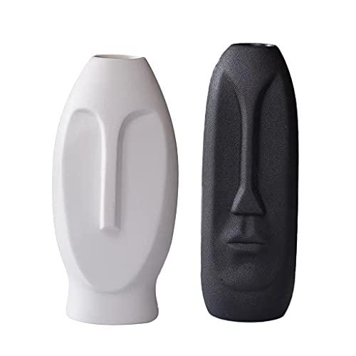 Fenteer 2pcs Abstrakte Gesicht Keramik Vase Blumentopf Pflanzer, Blume Vase Tisch Getrocknete Blume Vase Haus Mittelstücke für Hochzeit, Party, Home Decor, Büro (Weiß + Schwarz)