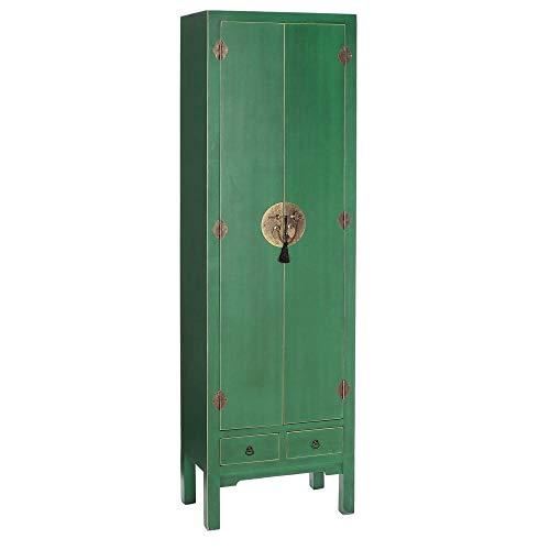 PEÑA VARGAS Mueble Auxiliar-Armario Oriente Verde 2 Puertas 2 Cajones (55x33x185), Madera, 55x33x185 cm