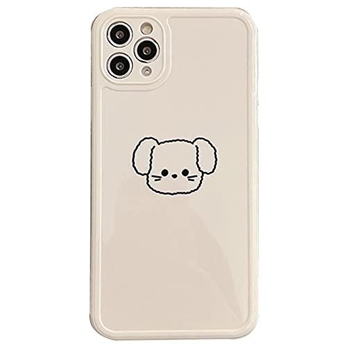 ZWQASP QJSMGZS Caja Linda del teléfono de la Historieta de Dibujos Animados paraForiPhone 12 Pro MAX 11 Mini X XS XR 7 8 Más SE2 Oso Perro Oveja Suave TPU Cubierta Trasera Cuadrada