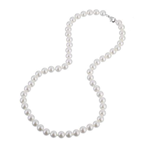 KEZEF Creations 8mm Faux White Pearl Necklace 20 Inch