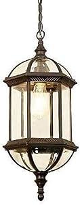 Lámpara De Pared Simple Y Fresca Metal la jaula al aire libre Luz pendiente American Country Village antiguo Montaje impermeable IP54 retro Industrial Pérgola Jardín de techo Lámpara colgante de crist