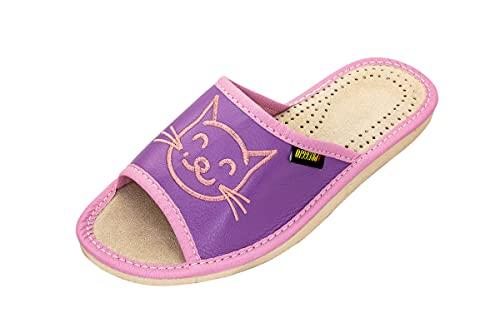 Apreggio - Zapatillas de Cuero para Mujeres - Suela de Goma Maciza - Cómodas de Llevar - Suaves - Producto 100% Natural - Hechas a Mano (Rosa-Violeta, 41)