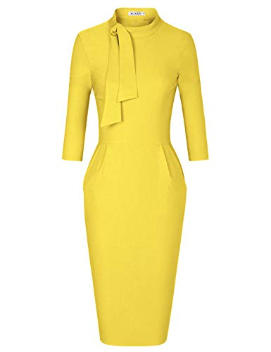MUXXN Womens Pure Cocktail Dresses with Sleeves Casual Office Work Pencil Dress (Yellow L)