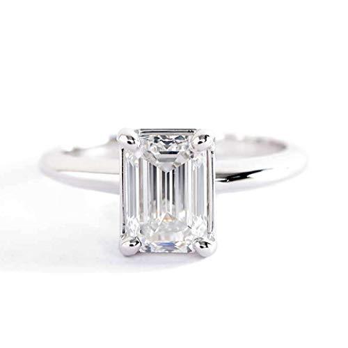 GIA Cert - Anillo de compromiso de platino con diamante solitario de esmeralda clásico SI1 F