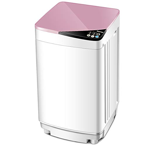 Giantex Full-Automatic Washing Machine Portable Washer and Spin Dryer 7.7 lbs Capacity Compact Laundry Washer with Built-in Barrel Light Drain Pump and Long Hose for Apartments Camping (White & Pink)