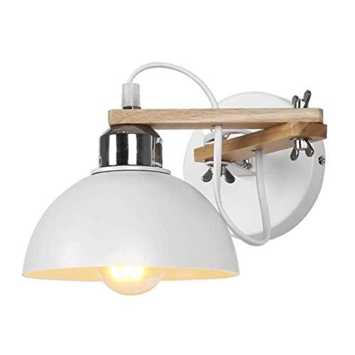 Modern Creative Bedroom Bedside Wall Lamp Paraguas de metal blanco y madera...