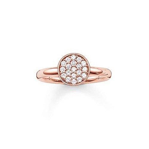 Thomas Sabo Damen-Ring Glam & Soul 925 Sterling Silber 750 rosegold vergoldet Zirkonia weiß Gr. 52 (16.6) TR2050-416-14-52