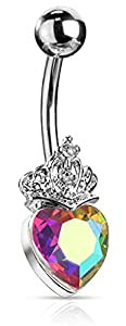Via Mazzini Stainless Steel Heart with Crown Belly Button Navel Ring for Women and Girls (BB0071)
