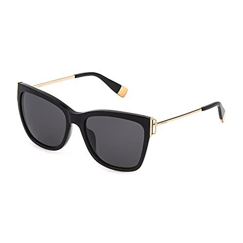 FURLA Gafas de sol SFU462 0700 55-17-135 para mujer, color negro brillante, lentes ahumadas