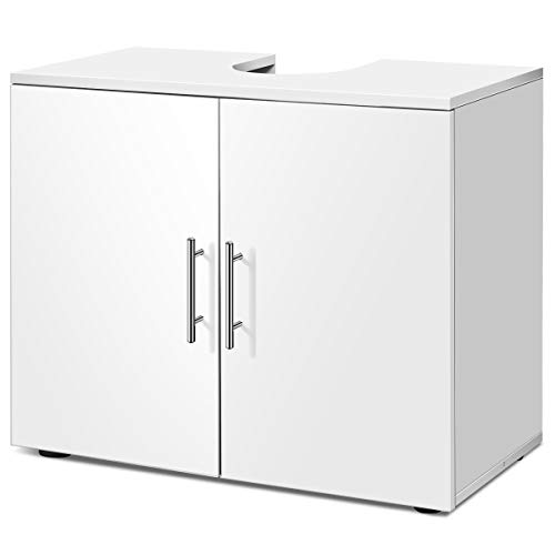 Giantex Bathroom Vanity Cabinet Under Sink Storage, 27' Wide 14' Deep 23' Height Non Pedestal Large Cabinets Capacity Space Saver Organizer Freestanding Double Doors, Bathroom Vanities,White