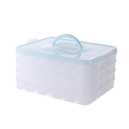 Kitchen shelf Dumpling Box Kühlschrank Frische Aufbewahrungsbox Gefrorene Knödel Antihaft-Wonton-Box Kann Mikrowelle Tau-Box Knödel Sub-Tray (Farbe : Blau, größe : 28 * 22.5 * 14cm)