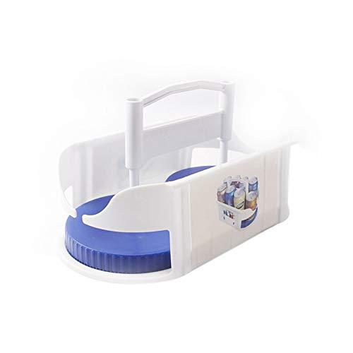 SODIAL Caja De Almacenamiento Giratoria De Doble Rodillo Refrigerador Multifuncional De Cocina Estante De Cerveza De Bebidas Cajita De Roto Organizador Giratorio