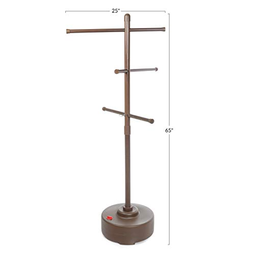 Milliard Freestanding Portable Outdoor Towel Tree, Three Adjustable Bars, Weather Resistant Plastic – 65 inches x 25 inches– Stylish Bronze Colored Pool and Spa Towel Rack