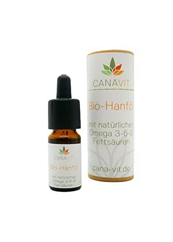 CanaVit Bio Hanfsamenöl | Deutsches Bio-Produkt mit Zertifikat | 10 ml Inhalt – 250 Tropfen | Hanföl mit natürlichen Omega 3, Omega 6 und Omega 9 Fettsäuren | beruhigt und entspannt