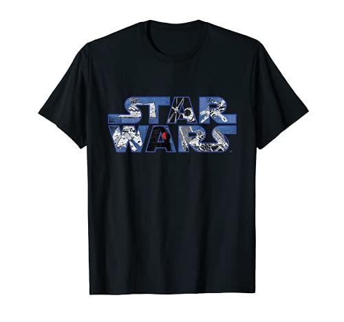 Star Wars Logo Millennium Falcon and Death Star T-Shirt