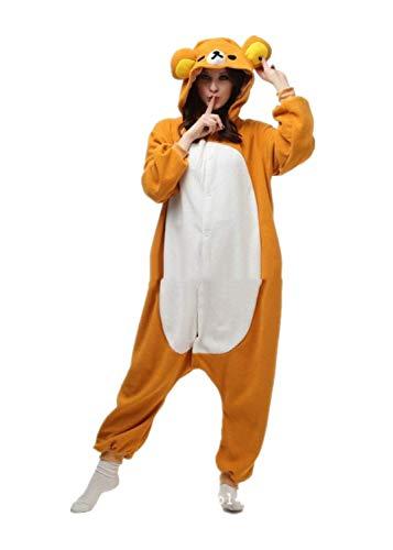 SSM Tier Pyjama Onesies Fasching Kostüm Cartoon Schlafanzug mit Kapuze Cosplay Karneval Winter Pyjama Home Unisex Erwachsene Damen Herren Rilakkuma M