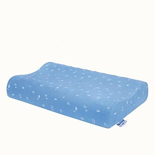 MRBJC Almohada de espuma de memoria para niños Almohada de látex natural almohada de dormir plana para almohada de niño para dormir azul 44x27x6cm