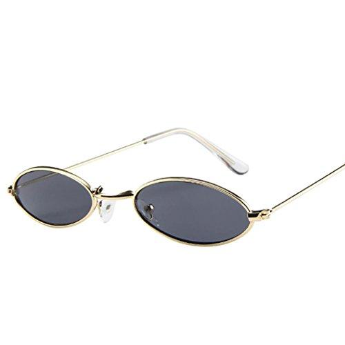 VENMO Mode Herren Retro kleine ovale Sonnenbrille für Damen Metallrahmen Shades Brillen Katzenauge Metall Rand Rahmen Damen Frau Mode Sonnebrille Gespiegelte Linse Women Sunglasses (E)