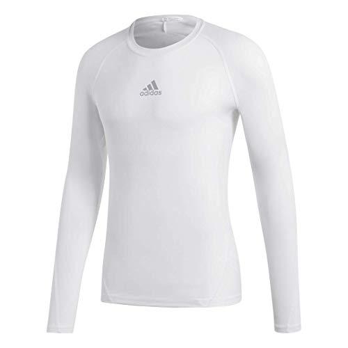 adidas Mens Long Sleeve Alphaskin Shirt White L