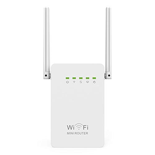 YMXLJJ 300Mbps Router WiFi Repeater, Mini Network Range Extender, Booster Wi-Fi Single Increase Dual Dual External Antennas, Access Point/Repeater/Router Mode, Puerto Ethernet, WPS