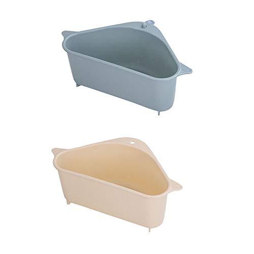 CZF ES 2 Stück Spüle Abfluss Regal, Ecke Hängende Regal, Waschbecken Filterablage Dreieck Lagerregal, für Küche Bad Unterstützung Ecke