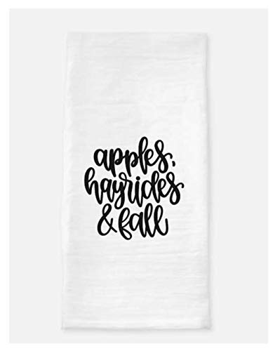 Apples, Hayrides and Fall. Kitchen Towel. Kitchen Tea towel. Kitchen Flour Sack Towel. Fall Decor.