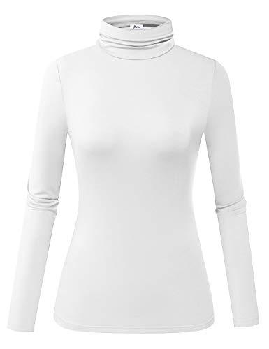 Herou Women's Long Sleeve Lightweight Soft Pullover Turtleneck Tops (01-White, Large)