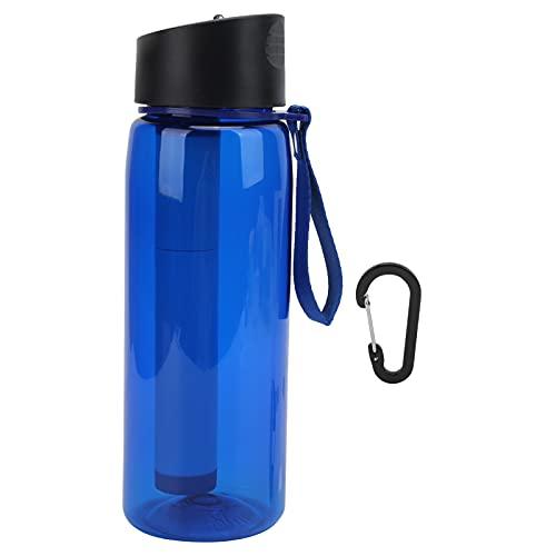 RUIRUIY 650ml Botella de Filtro de Agua para Exteriores Botella de filtración de Agua de Emergencia para Acampar Purificador(Azul)