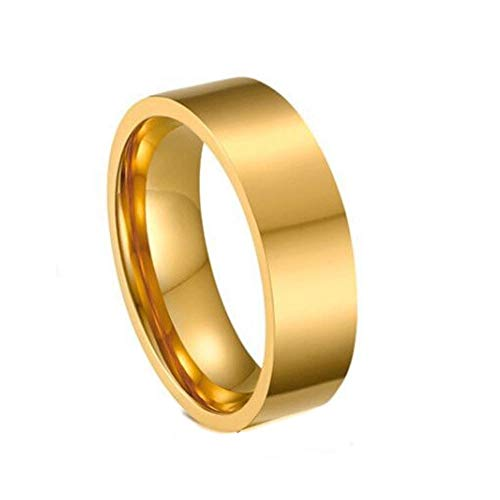 Minimal 6mm Wide Flat Ring Band Stacking Jewelry 18K Gold-plated Cigar Statement Cuff Tube Band Ring (Gold, 6)