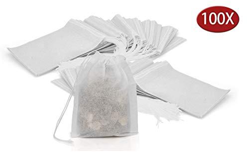 Granny's Kitchen 100 Teebeutel für losen Blatt Tee - Feine Einweg Teefilter leere Beutel für Kräuter, Pulver mit Kordelzug - Filterpapier Taschen Weiß