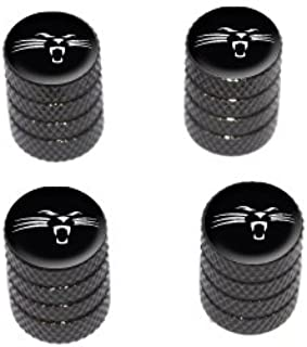 Graphics and More Panther Face - Tire Rim Valve Stem Caps - Black
