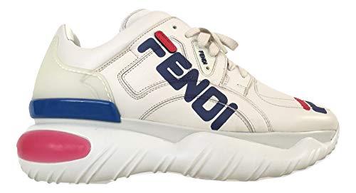 FENDI Fila Scarpe Uomo Sneaker Alte Tessuto Pelle 7E1199A62EF15FK Bianco