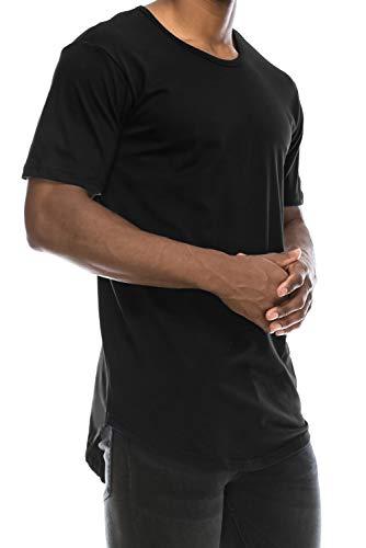 Black Drop Cut Curved Hem Scallop Extra Long Longline T-Shirt L
