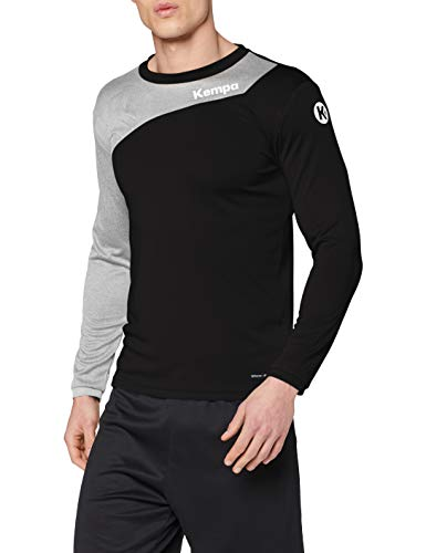 Kempa Erwachsene CORE 2.0 Langarmshirt Bekleidung Teamsport, schwarz/Dark grau Melange, L