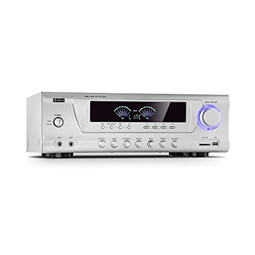 Auna AMP 3800 BT 5.0 - Amplificador HiFi, 2 x 120 W + 3 x 50 W RMS, Bluetooth, Puerto USB, Ranura SD, 2 Conectores de micrófono, Entrada de DVD estéreo, Salida de línea, Plateado