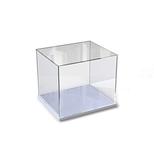 Caja de exhibición de acrílico transparente para la colección de minifiguras Lego,  caja de exhibición de almacenamiento a prueba de polvo con base para mini figuras de juguete (Blanco,  10x10x10cm)