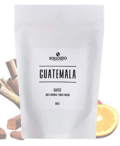 Sollozzo - Guatemala Kaffee ganze Bohnen - 100% Arabica geröstete Kaffeebohnen mit feinwürziger Süße und einem Hauch herzhafter Aromen, 250g