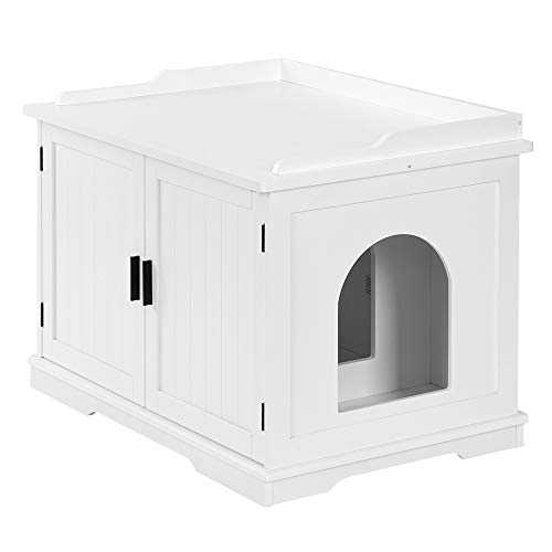Bonnlo Nightstand Cat House w/Pet Mat, Cat Washroom Storage Bench, Cat Litter Box Enclosure Cabinet,...