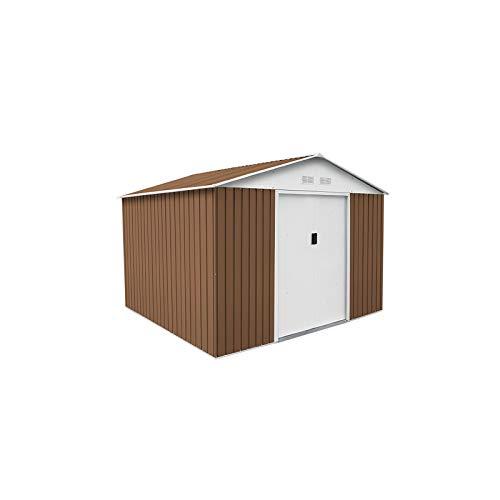 GARDIUN KIS12863 - Caseta Metálica Bristol 7,74 m² Exterior 241x321x205 cm Acero Galvanizado Marrón