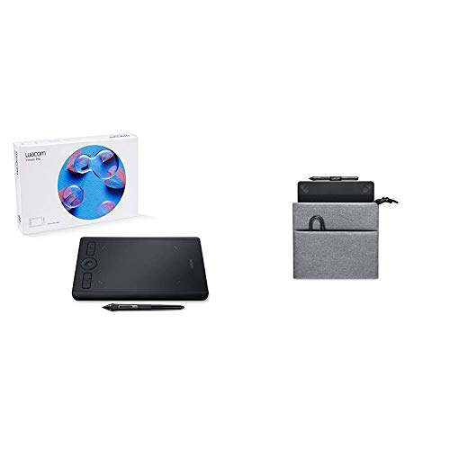 Wacom PTH460K0A Intuos Pro Digital Graphic Drawing Tablet for Mac or PC, Small New Model & Intuos Carry Case (ACK413021)