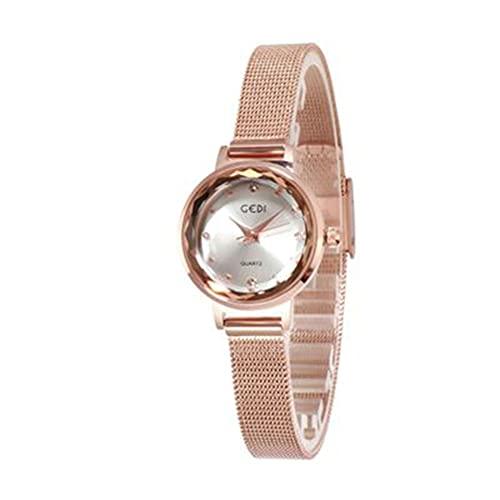 Cronómetro Oro Reloj Local Cuarzo Cronógrafo Reloj de Cuarzo Reloj de Cuarzo Pequeño Reloj de Marea para Mujer Reloj de Pulsera de Metal Relojes de Pulsera (Color: A)