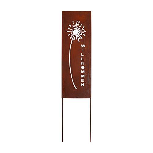 RM Design Gartendekoration Roststecker Willkommen Spruch Metallschild mit Pusteblume 66 x 22 cm