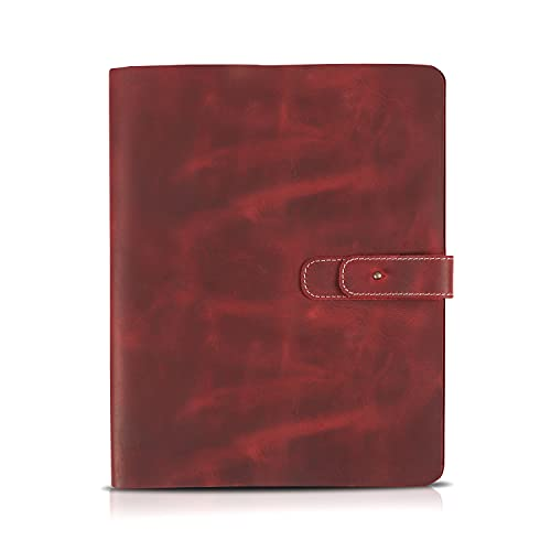 Londo - Funda de Cuero Genuino para Tableta con Dos Ranuras para Tarjetas y Soportes para bolígrafos / lápices de Apple (Rojo, 11 Inch)