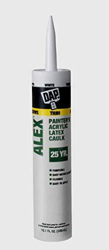 New!! DAP ALEX Painter's White Acrylic Latex CAULK In Out 25 Year 10.1 oz. 18670