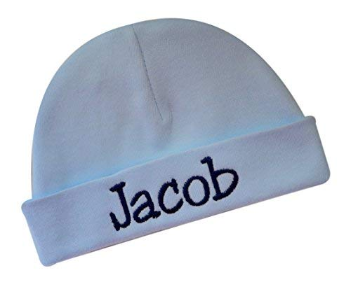 Funny Girl Designs Embroidered Light Blue Baby Boy Hat Personalized Keepsake Custom Infant Hat for Baby Boys