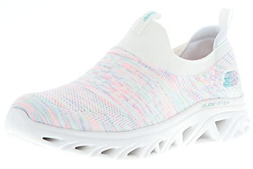 Skechers 149328/WMLT Glide-Step Sport-Lively Glow Damen Sneaker Turnschuhe Sportschuhe Slipper weiß/Mehrfarbig, Größe:39, Farbe:Weiß
